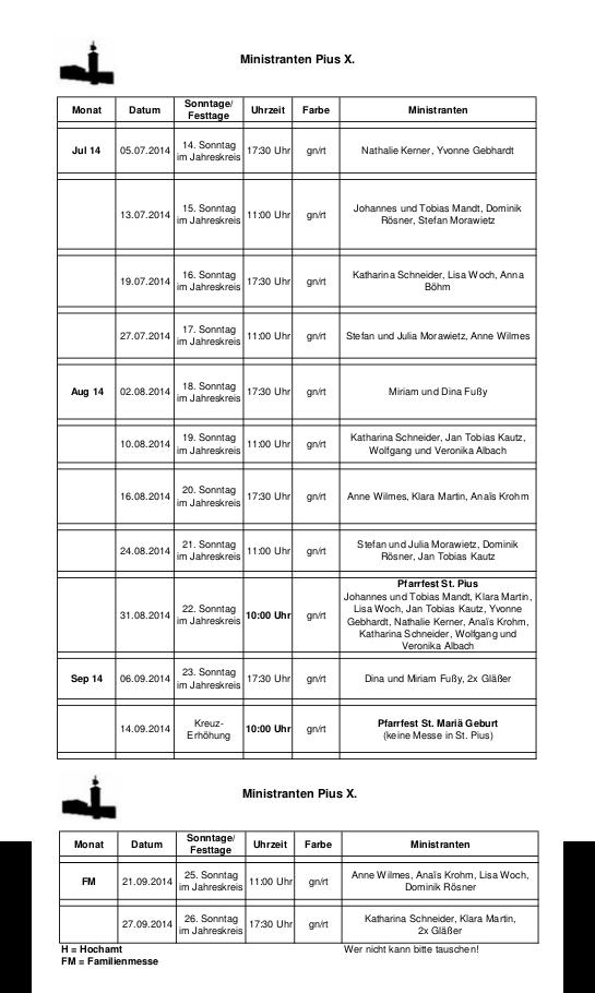 Ministrantenplan fuer StPius bis 28.09.2014