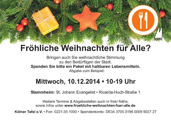 Lebensmittelpakete-Aktion der Kölner Tafel 2014