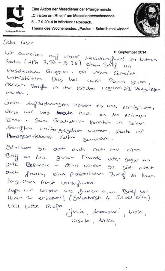 Brief von der MessdienerInnenfahrt