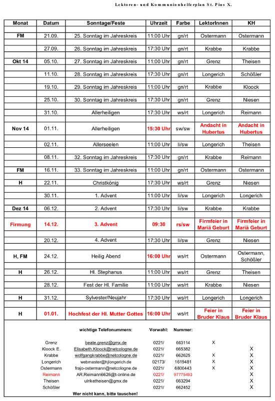 Lektorenplan Pius Nr.04 2014