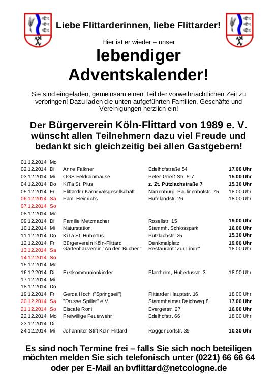 Adventskalender Flittard 2014