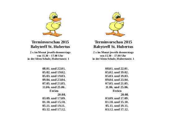 Terminvorschau 2015 Babytreff