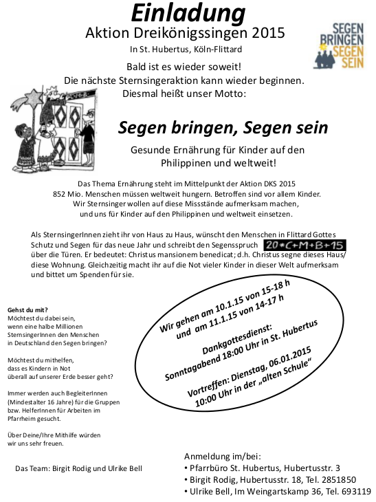 Einladung Dreikönigssingen 2015