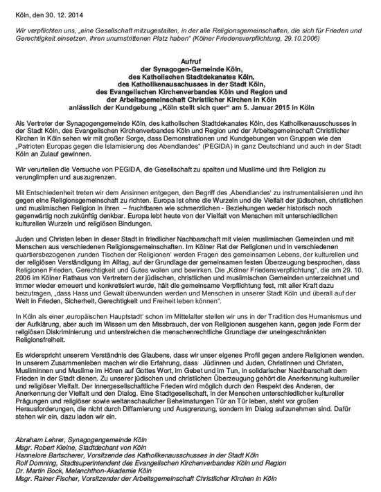 Aufruf gegen Pegida
