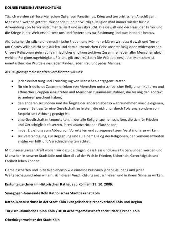 Kölner Friedensverpflichtung 2006