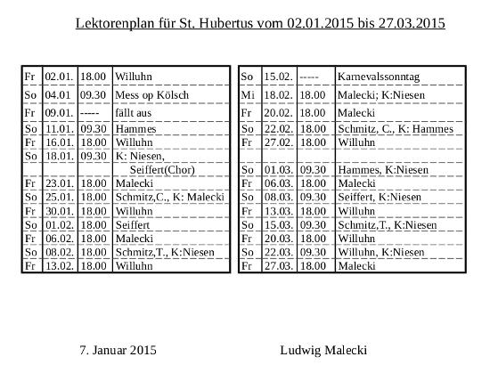 Lektorenplan St.Hubertus bis 27.03.2015