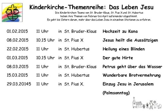 Kinderkirche-Themenreihe: Das Leben Jesu 2015