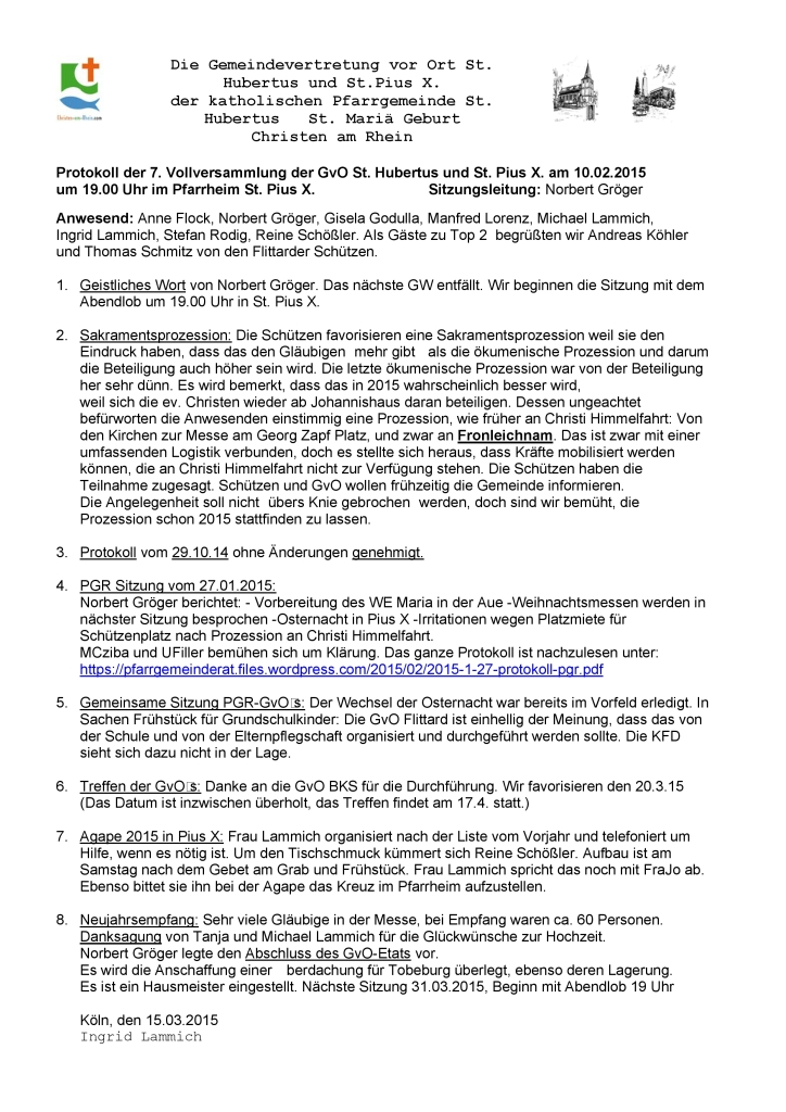 Protokoll GvO Flittard 10.02.2015
