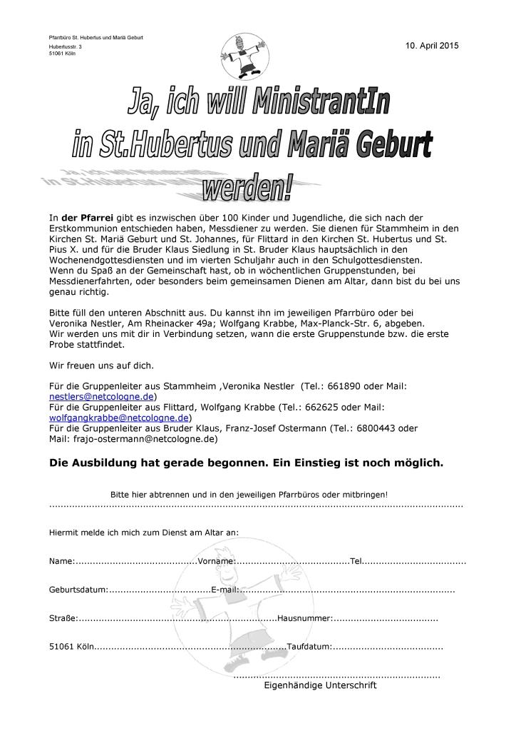Einladung Miniausbildung 2015