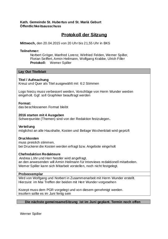 Protokoll Öffentlichkeitsausschuss April 2015
