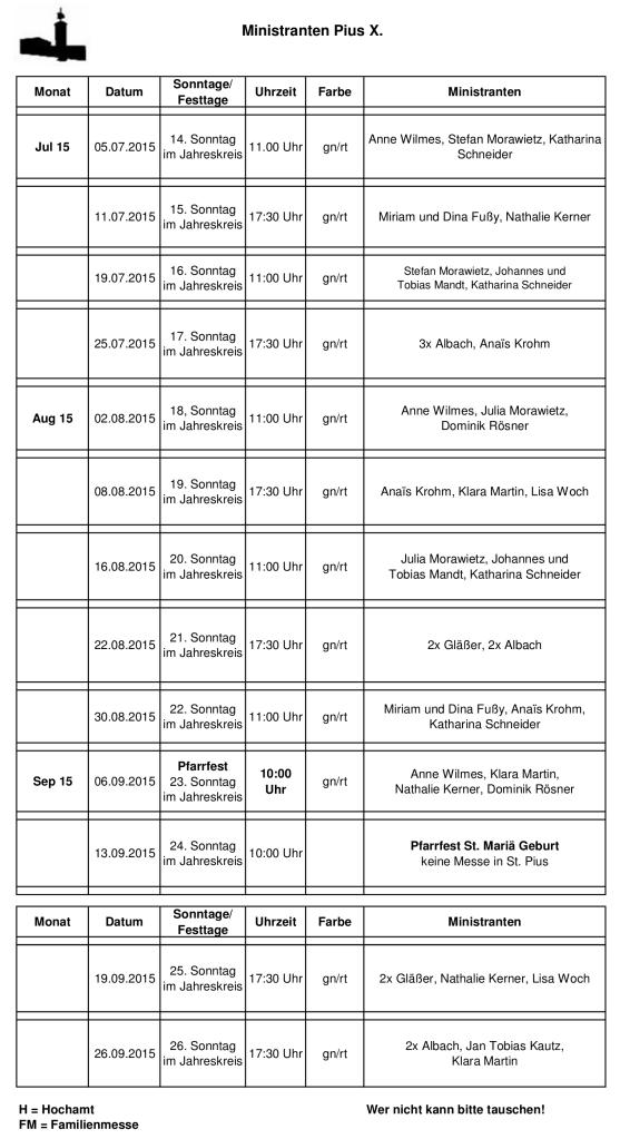 Ministrantenplan Pius bis 26.09.2015