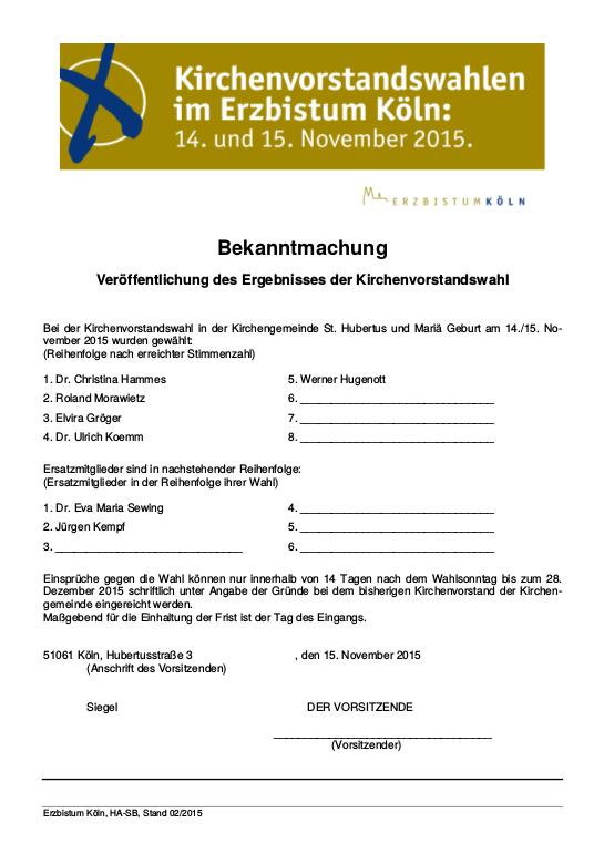 Bekanntmachung Ergebnis KV Wahl 2015