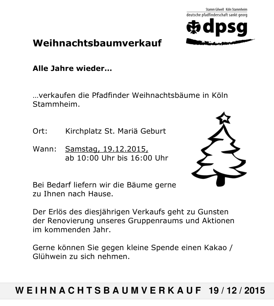 Weihnachtsbaumverkauf Stammheim