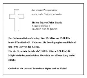 Traueranzeige Fritz Frank