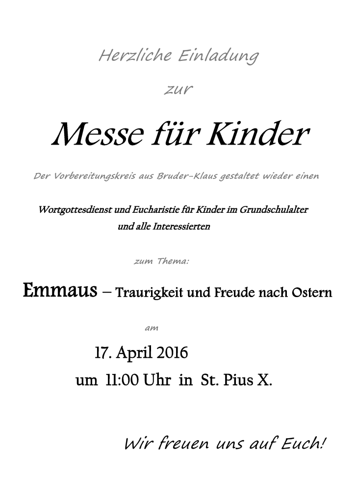 Pfarrbrief Messe für Kinder - April 2016