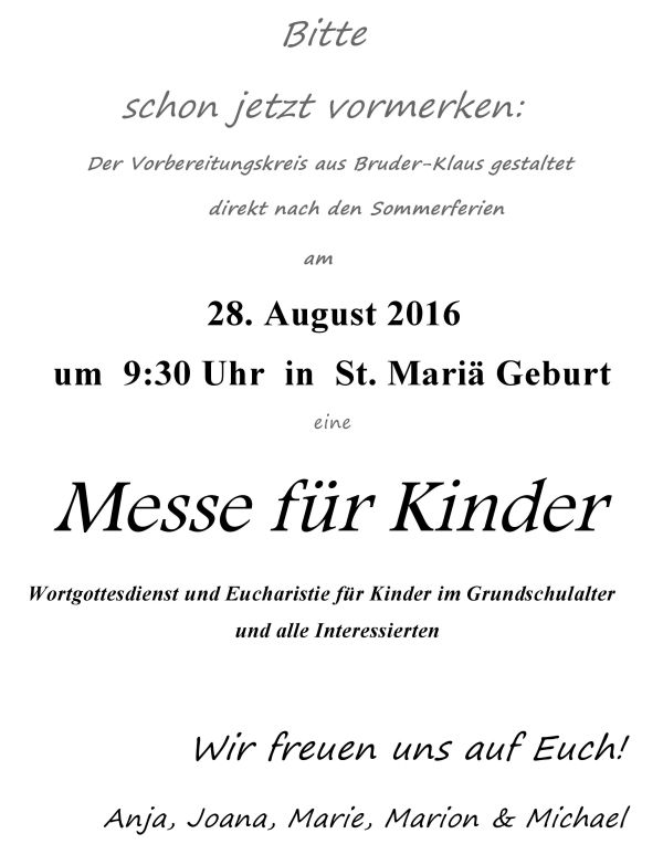 Pfarrbrief Messe für Kinder - August 2016
