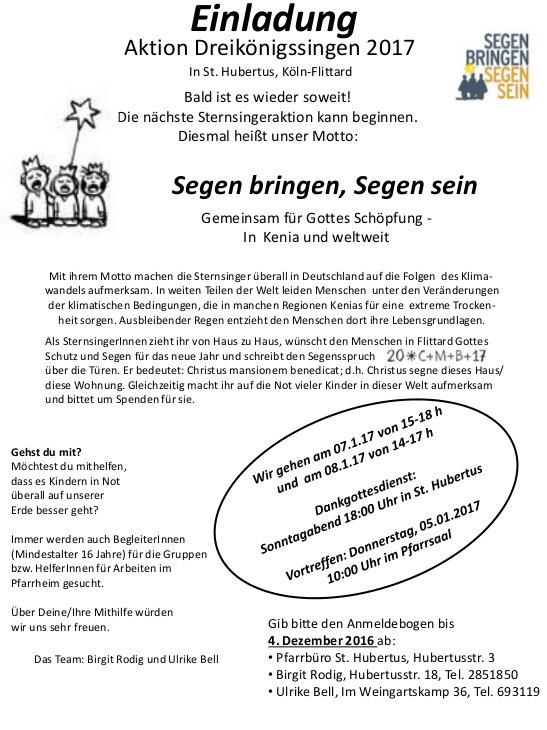 Einladung Sternsingen Hubertus 2017