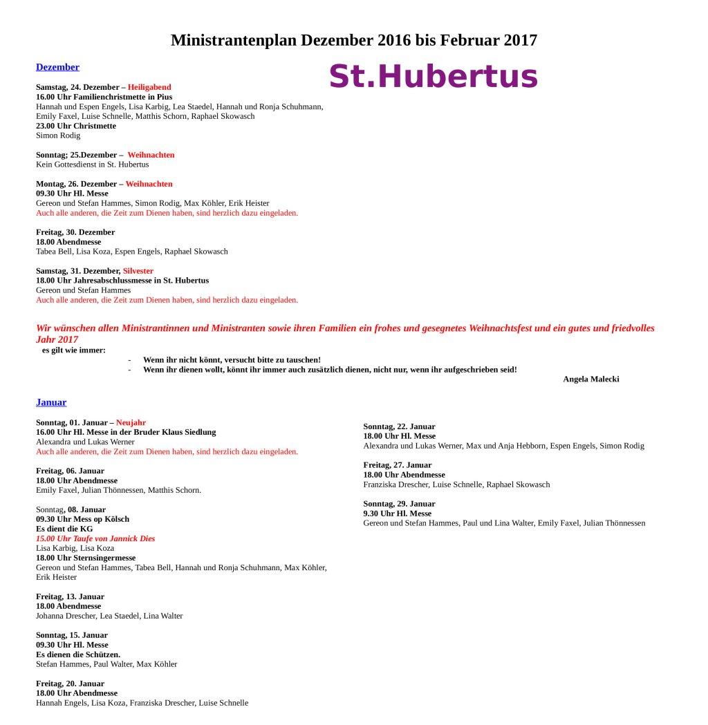 Miniplan Hubertus bis Februar 2017