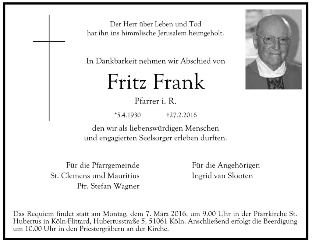 Traueranzeige Fritz Frank 2016
