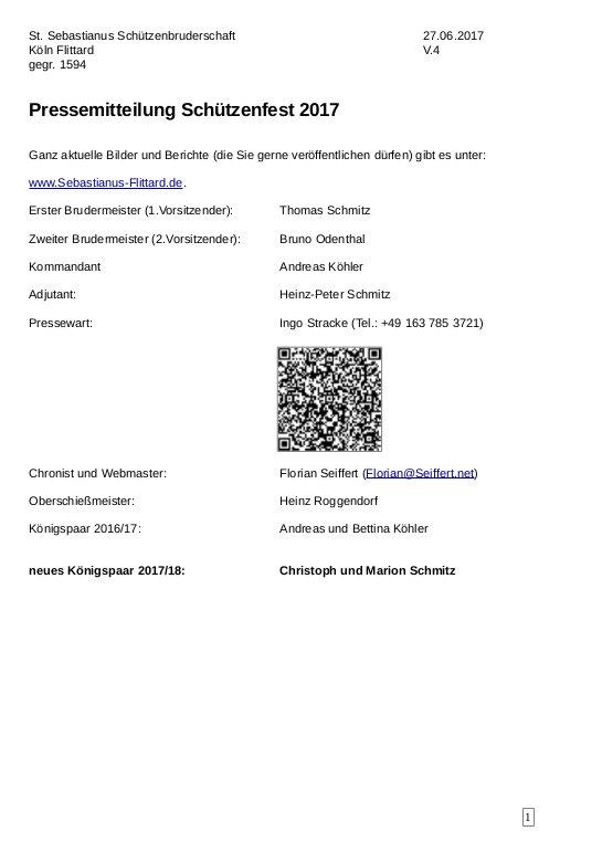 Pressemitteilung Schützenfest 2017
