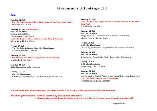 Hubertus Miniplan Juli und August 2017