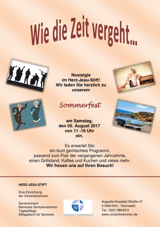 Plakat Sommerfest Herz Jesu Stift 2017