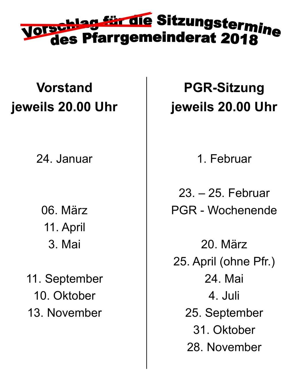 PGR Termine 2018