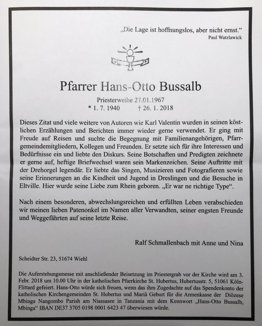 Todesanzeige Pfarrer Bussalb
