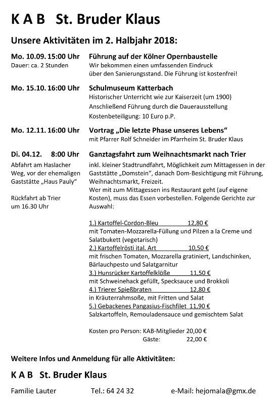 Herbstprogramm 2018 KAB