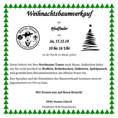 Flyer Weihnachtsbaumverkauf 2018 quadrat